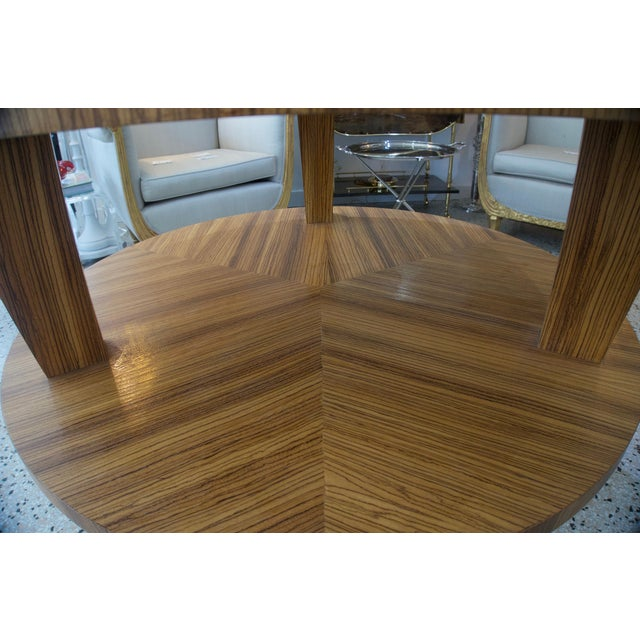 Art Deco Revival Center Table in Exotic Zebrano Wood For Sale In West Palm - Image 6 of 9