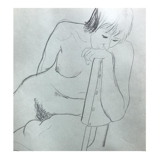 1970s James Bone Pensive Female Nude in a Chair Drawing For Sale