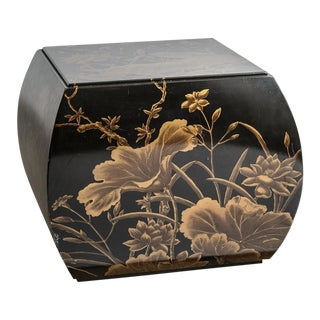 Chinoiserie Black & Gold Hand Painted Lacquered Wood Stool For Sale