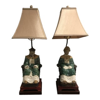 Vintage Asian Chinese Figurine Green/Gold Lamps With Shades - a Pair For Sale