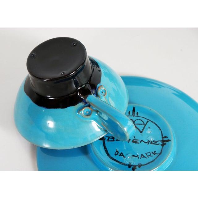 Blue Blue Mid Century Danish Modern Bjorn Wiinblad Pottery Tea Cups & Saucers - Set of 4 For Sale - Image 8 of 10
