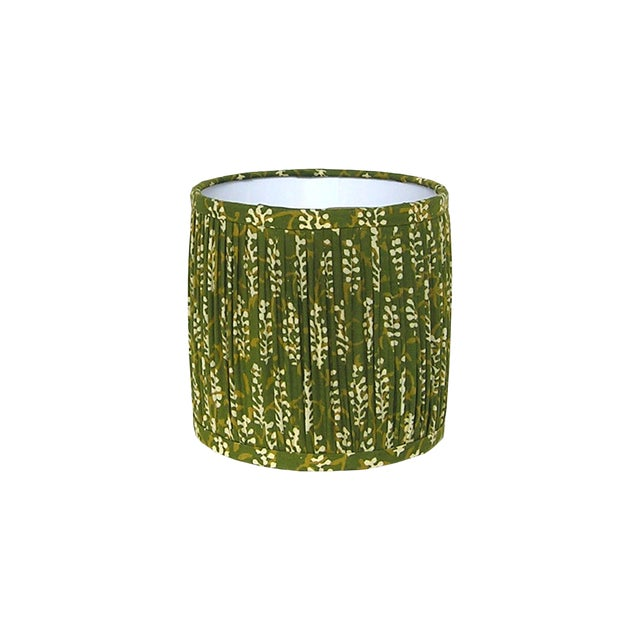 Green Block Print Gathered Sconce or Chandelier Shade For Sale