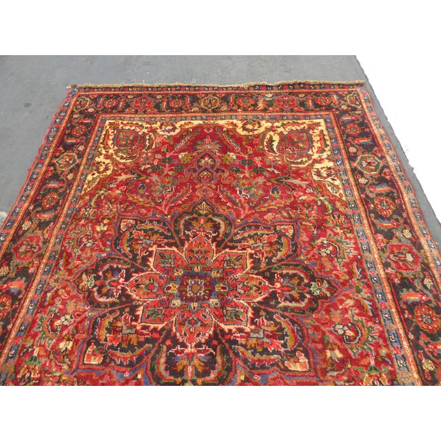 Islamic Vintage Red Floral Design Persian Rug - 7′ × 9′ For Sale - Image 3 of 9