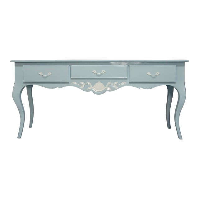 Mid 20th Century French Carved Blue & White Lacquered Console Table For Sale