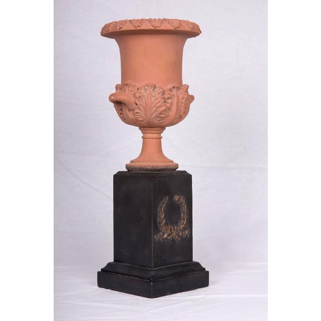 Late 20th Century Neoclassical Terracotta Urns on Decorated Plinths - a Pair For Sale - Image 4 of 6