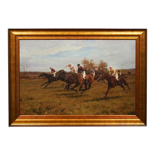 Blinks a Race to the End Equine Horses Fine Art Canvas Giclée Reproduction Framed For Sale