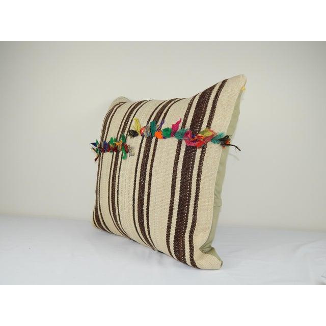 "Mid-Century Modern Vintage Unique Turkish Hemp Kilim Pillow 24"" X 24"" For Sale - Image 3 of 5"