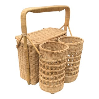 Mid 20th Century Natural Woven Wicker Rattan Caned Picnic Basket and Wine Caddy For Sale
