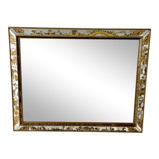 1920's/30's Large Chinoiserie Reverse Painted Mirror For Sale