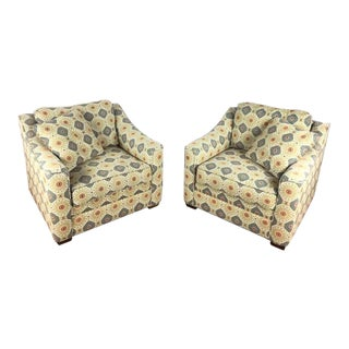 Contemporary Craftmaster Custom Upholstered Armchairs - a Pair