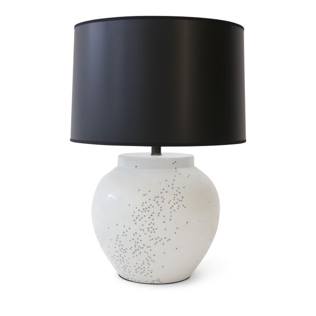 "Artist-made ""ant"" lamp with complementary shade. Spherical ceramic table custom lamp finished in a lovely white glaze and..."