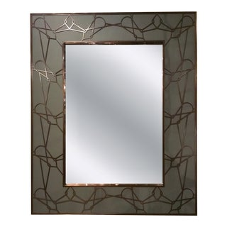 Baker Modern Bronze Metal Fret Work Prototype Wall Mirror For Sale
