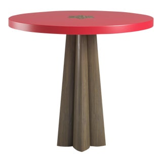 Danielle Smoked Wood Oak Side Table - Bull's Eye Red For Sale