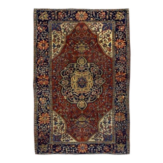"1880s Handmade Antique Persian Sarouk Farahan Rug - 4'2"" X 6'3"" For Sale"