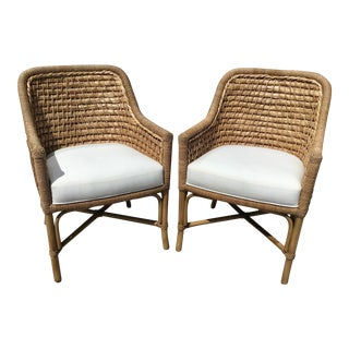 Boho Chic Natural Rattan and Sea Grass Chairs With Off White Cushions - a Pair For Sale