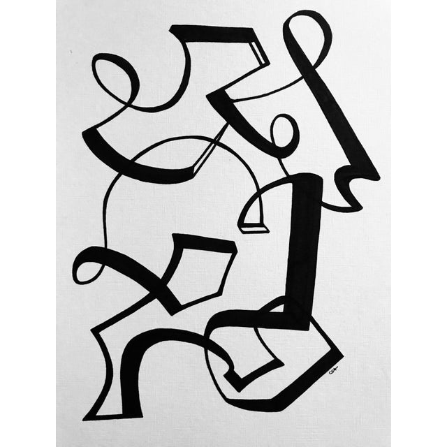 "Black ""Line Dancing"" Original Pen & Ink Drawing For Sale - Image 8 of 8"
