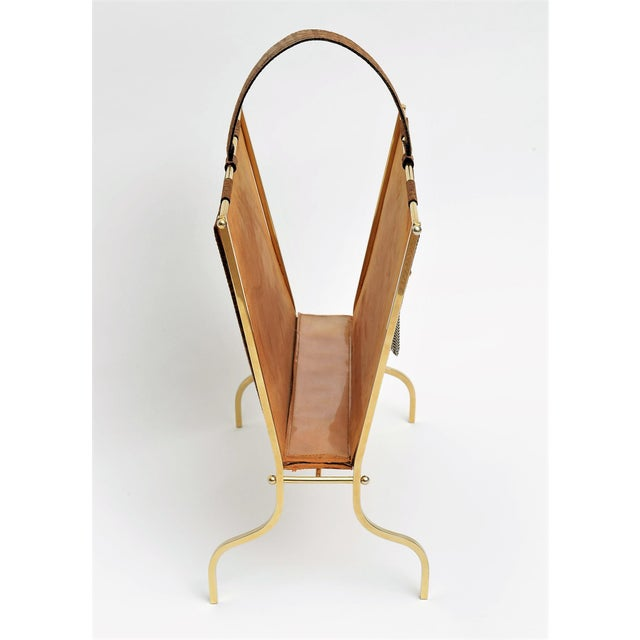 Vintage French Elephant Embossed Suede Leather and Brass Magazine Holder Inspired by Jacques Adnet Mid Century Modern MCM Millennial - Image 6 of 11