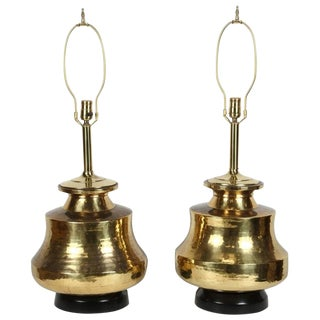 Pair of Polished Moroccan Brass Table Lamps For Sale