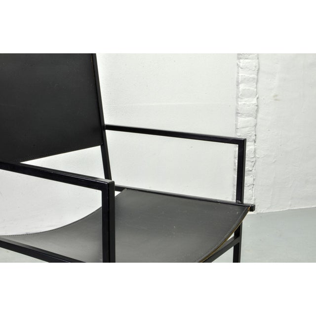 Animal Skin Set of Two Mid-Century Dutch Design Black Leather and Metal Dining Chairs Ag-6 by Albert Geertjes, the Netherlands, 1984 For Sale - Image 7 of 11