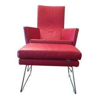 Label Don Leather Armchair With Footstool