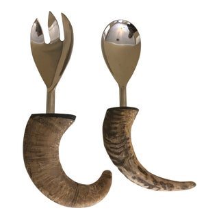 1990s Horn Serving Spoon and Fork For Sale