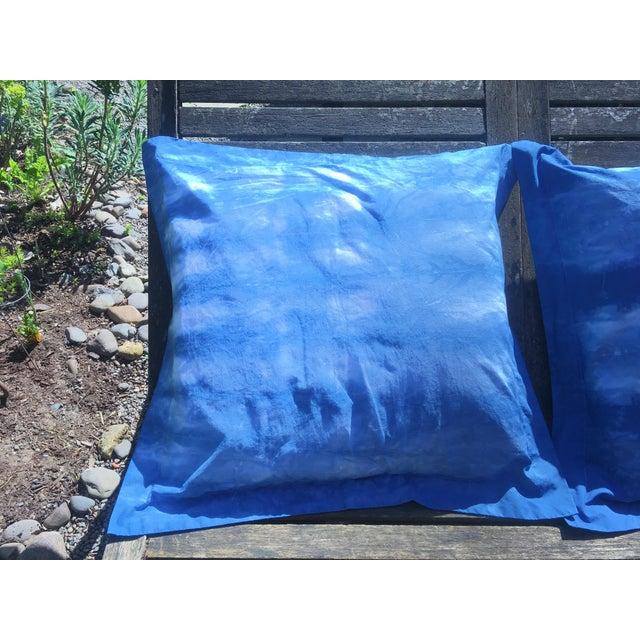 Blue & White Hand Dyed Indigo Shibori Euro Pillow Shams- Set of 2 For Sale - Image 4 of 6