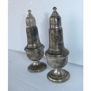 Antique Empire Sterling Silver Weighted Salt & Pepper Shakers - a Pair Preview