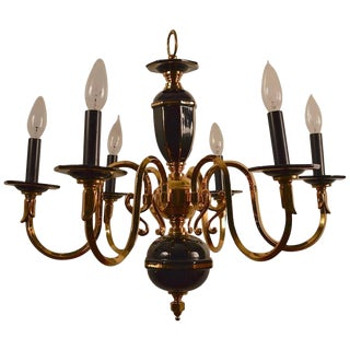Six-Light Candle Style Black and Brass Chandelier For Sale