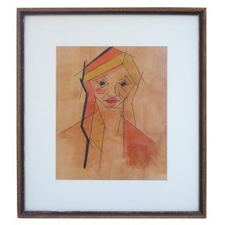Framed Cubist Portrait For Sale