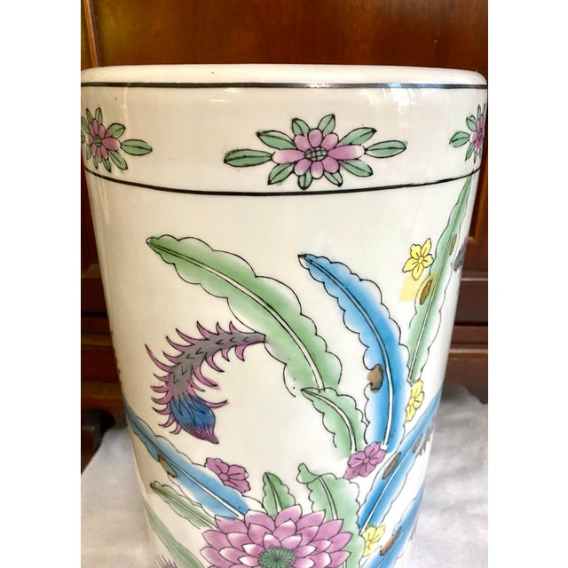 Vintage Chinese Porcelain Umbrella Stand For Sale - Image 4 of 9