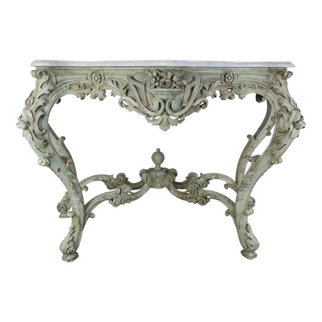 19th Century French Rococo Style Painted Console With Carrara Marble Top For Sale