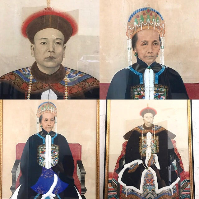 Large Antique Qing Dynasty Ancestor Painting of a Chinese Lady of Importance, Framed For Sale - Image 10 of 10