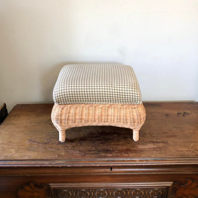 Late 20th Century Wicker Green Upholstery Footstool For Sale - Image 5 of 5
