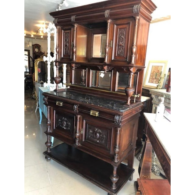 This is a very nice solid mahogany antique French marble top server, cupboard or cabinet. Circa 1880 in very good...
