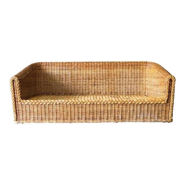 Vintage Mid-Century Modern Wicker Sofa For Sale