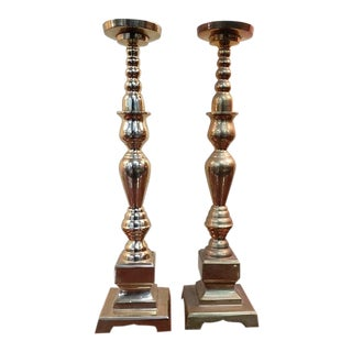 Pair of Early 20th Century Brass Candlesticks For Sale