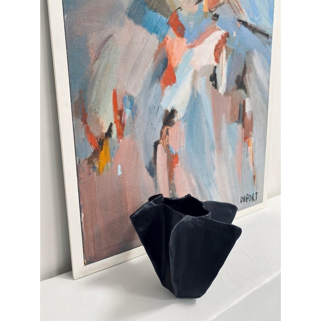 Abstract The Black Plaster Pinch Decorative Bowl For Sale - Image 3 of 7