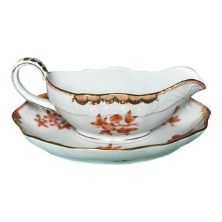 Herend Fortuna Pattern Gravy Boat and Saucer Set