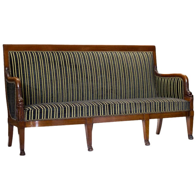 19th Century Empire Mahogany Settee For Sale