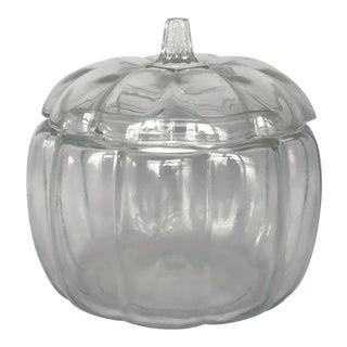Vintage Glass Pumpkin Cookie Jar Canister For Sale