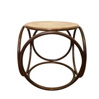 "Vintage Bentwood Stool Thonet Style Bent Wood & Cane Footstool 16"""