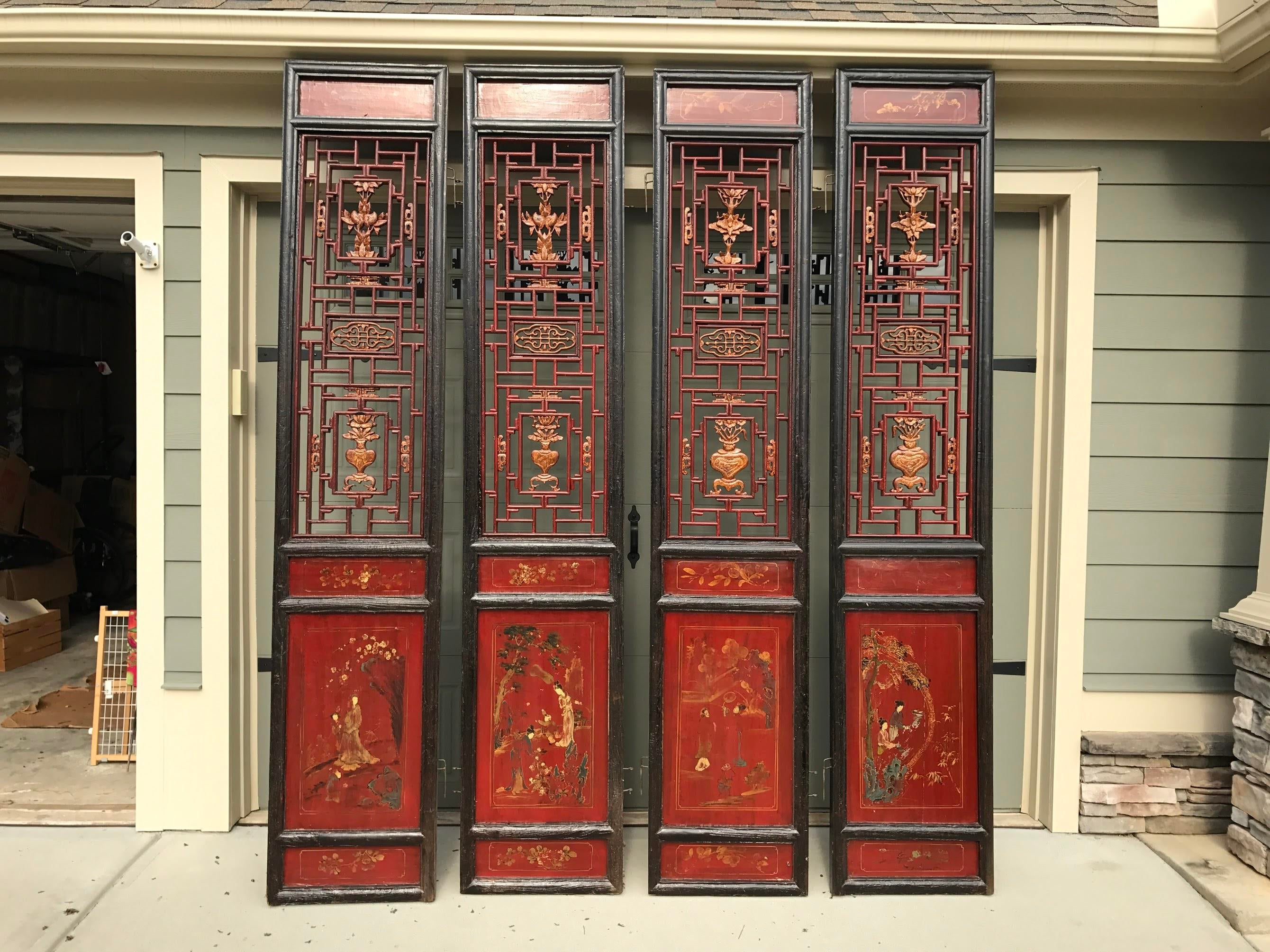 Qing Dynasty Chinese Lacquer Painted Folding Exterior Doors - Set of 4 - Image 11 of  sc 1 st  Chairish & Qing Dynasty Chinese Lacquer Painted Folding Exterior Doors - Set of ...