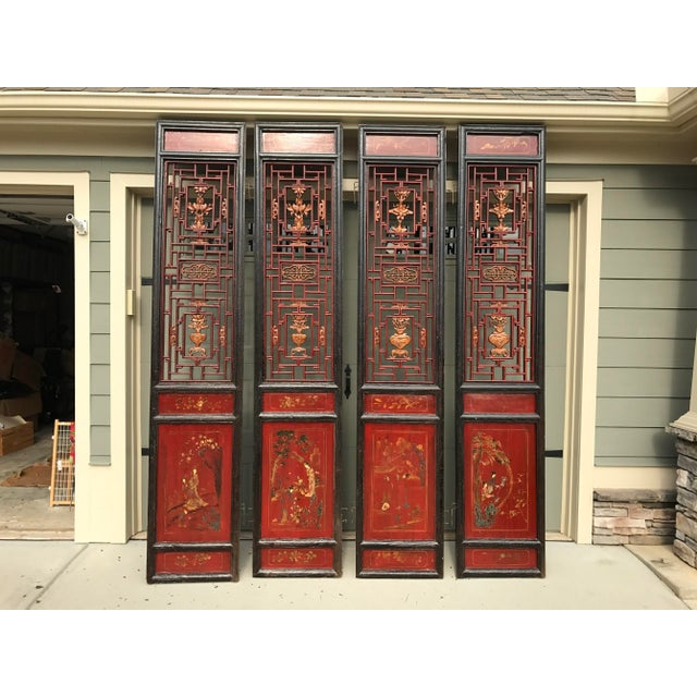 Qing Dynasty Chinese Lacquer Painted Folding Exterior Doors - Set of 4 For Sale - Image 11 of 11