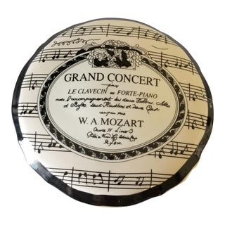 "Fornasetti Style Mozart Grand Concert Round Ceramic Covered Candy Dish ""Formalities"" by Baum Bros China For Sale"