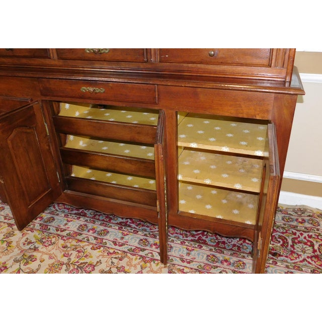 Quality French Made Oak Dining Room Buffet w/ Open Plate Rack Hutch c1970s - Image 8 of 11