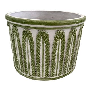 Large Green and White Glazed Terra Cotta Pot For Sale