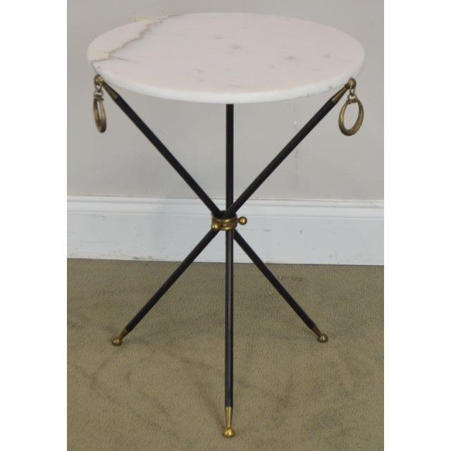 Tripod Mid Century Regency Style Round Marble Top Side Table After Robsjohn Gibbings For Sale In Philadelphia - Image 6 of 13