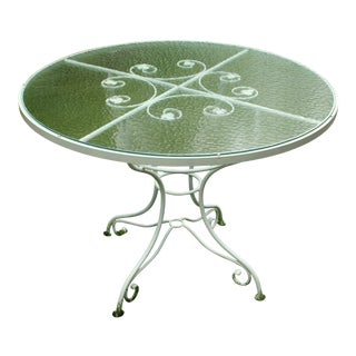 Vintage 1930-50s French Iron Garden Table For Sale