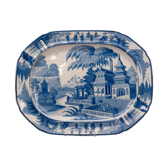 Blue Large 1820s Chinese Blue and White Porcelain Platter For Sale - Image 8 of 8