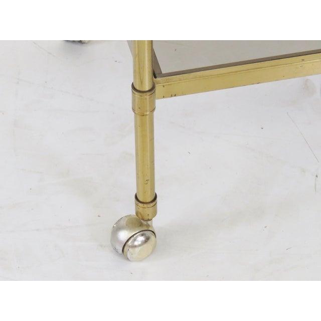 Mid-Century Modern Brass & Glass Bar Cart - Image 2 of 5